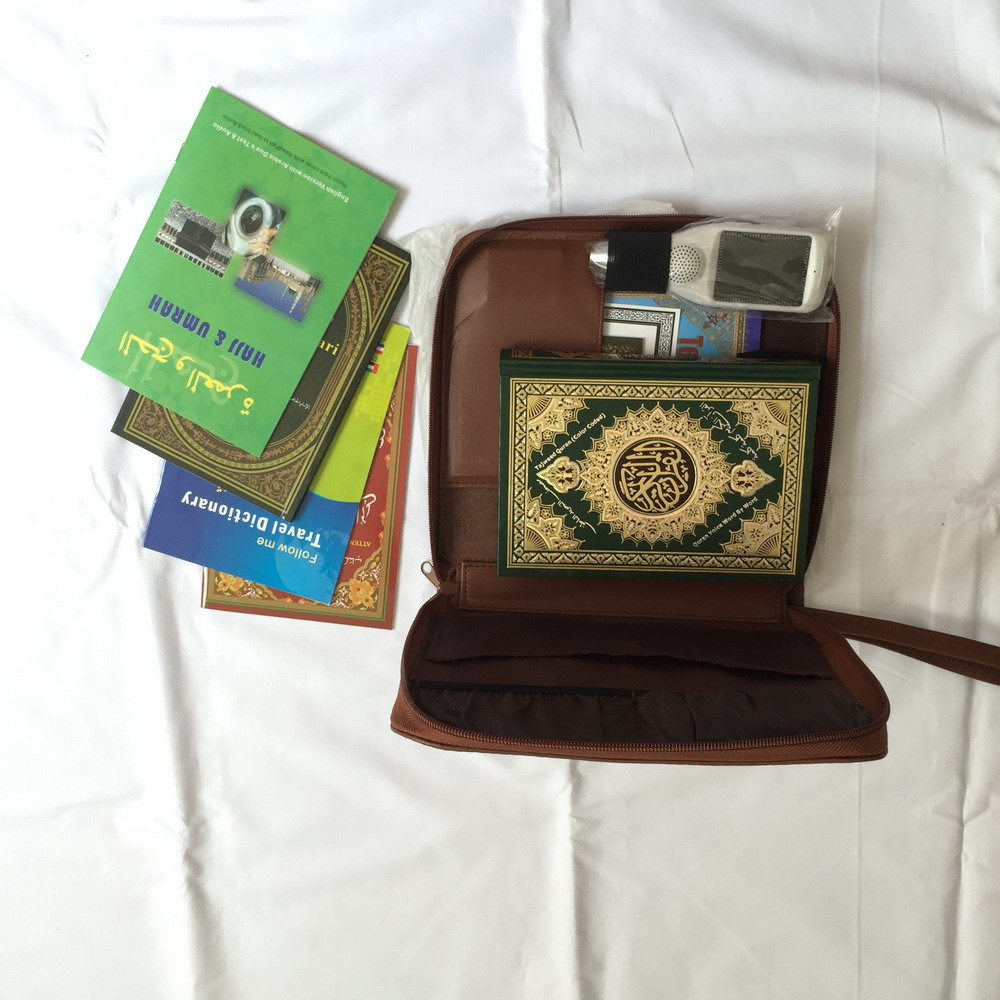 1pcs/lot LCD quran read pen QM9200 with leather bag package word by word voice holy quran player