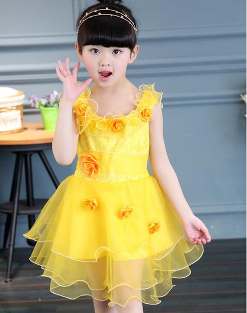 a2ed16e2345c Flower Petal Girl Organza Dresses Summer children Tutu Princess ...