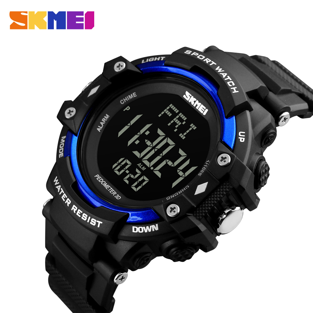 SKMEI 3D Pedometer Heart Rate Monitor Calories Counter Digital Watch Fitness For Men Outdoor Sports Smart Wristwatches 2018 skmei multi functional digital sport watch bluetooth smart watches heart rate pedometer monitor calories counter fitness watch