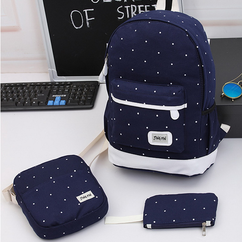 Travel Backpack Three-Piece-Set School-Bag Canvas Wave-Point-Water-Proof Student Unisex