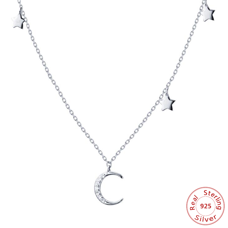 925 Sterling Silver Moon Stars Charm Pendant Necklaces for Women Fashion Silver Necklace Choker for Lady
