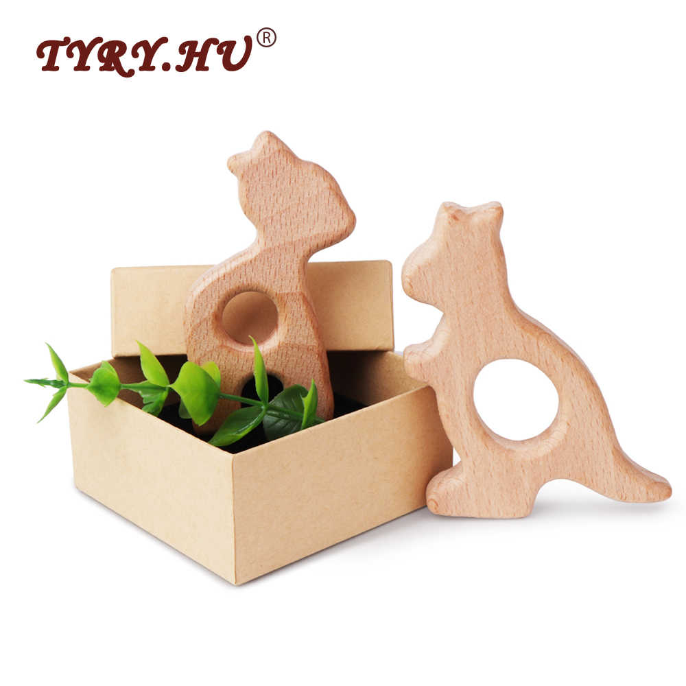 TYRY.HU 1Pc Natural Beech Wooden Teether Rodent Animals Shape Elephant Fox Turtle Wooden Toys Baby Nursing Accessories And Gifts