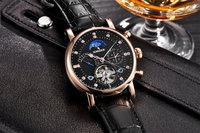 binssaw новый 2017 для мужчин полный автоматическая Mechanic часы турбийон Роско модные бренда пос из естественной кожи человек многофункциональный часы