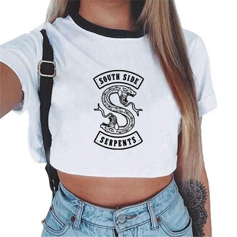 Kpop Stray Kids Printed Tshirt Riverdale South Side Serpents Tees Tops Feshion Harajuku Snake Print Crop Top Sexy T Shirt Women