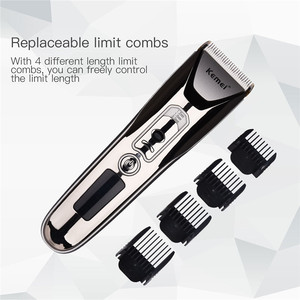 Image 4 - Kemei 0.8 2.0MM Adjustable Electric Hair Clipper LED Display Rechargeable Hair Trimmer With Comb Haircut Machine Hairclipper 489