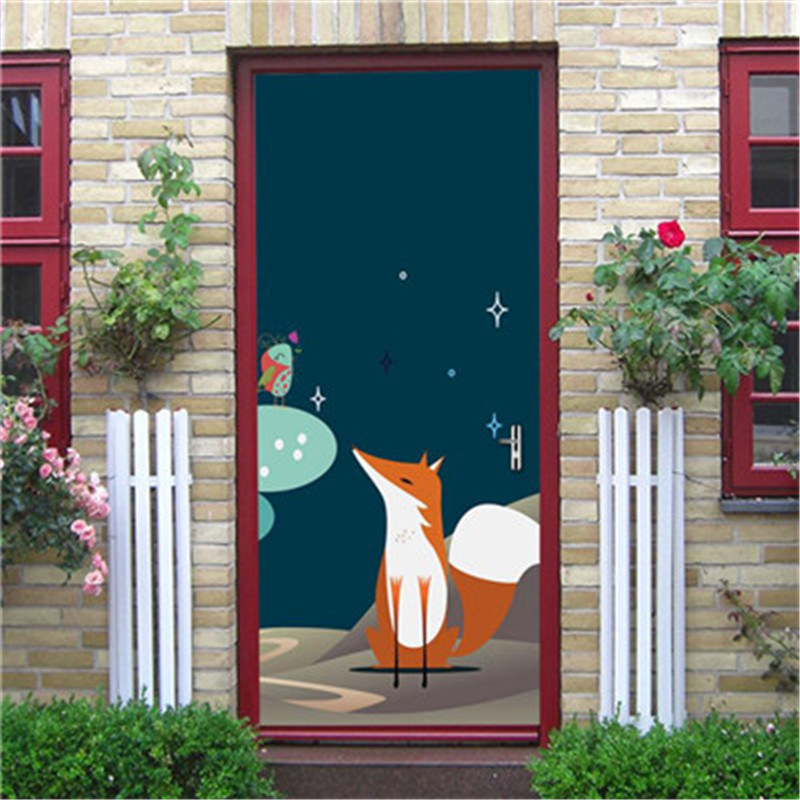Permalink to Door Sticker Decorative Painting Bedroom Living room Wall Fox pattern Mural Wallpaper Poster Self Adhesive Removable Home Decals