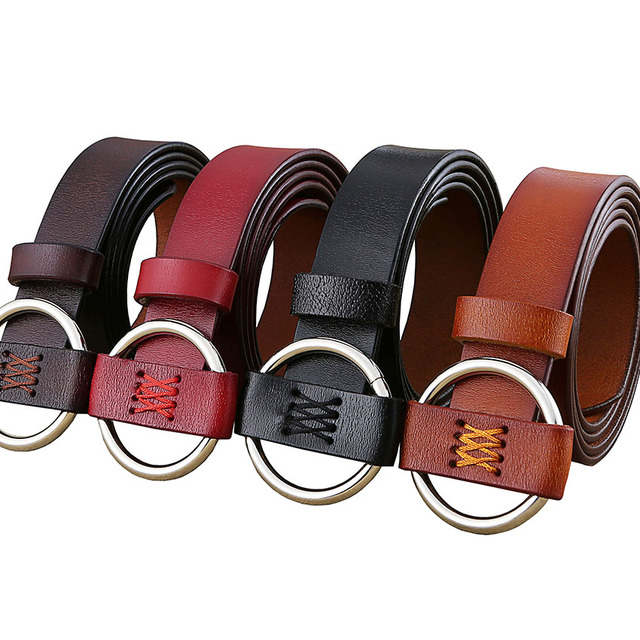 Women's Genuine Leather Belt with Round Shaped Buckle