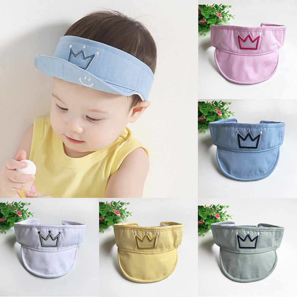 4a5377a3ce4 Cotton Summer Baby Sun hat cap empty top Crown Smile design Visors Kids  Baseball Hat snapback