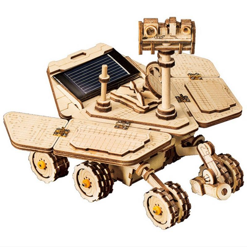 Robotime Moveable Spirit Rover Solar Energy Toy 3D Diy Cutting Wooden Model Building Kit Gift For Children Adult LS503