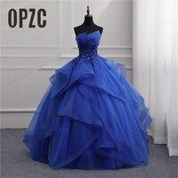 Formal Evening Dresses Long Gown Girls Elegant Blue White Strapless Sleeveless Priness Evening Dresses for party New Design