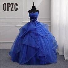 정장 이브닝 드레스 긴 가운 여자 우아한 파란색 흰색 Strapless 민소매 Priness 이브닝 드레스 파티 새로운 디자인