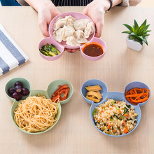 Cartoon Wheat Straw Baby Feeding Bowl Tableware Plate for Kids Children Infant Dish Training Dinnerware Cute Dishes Tray