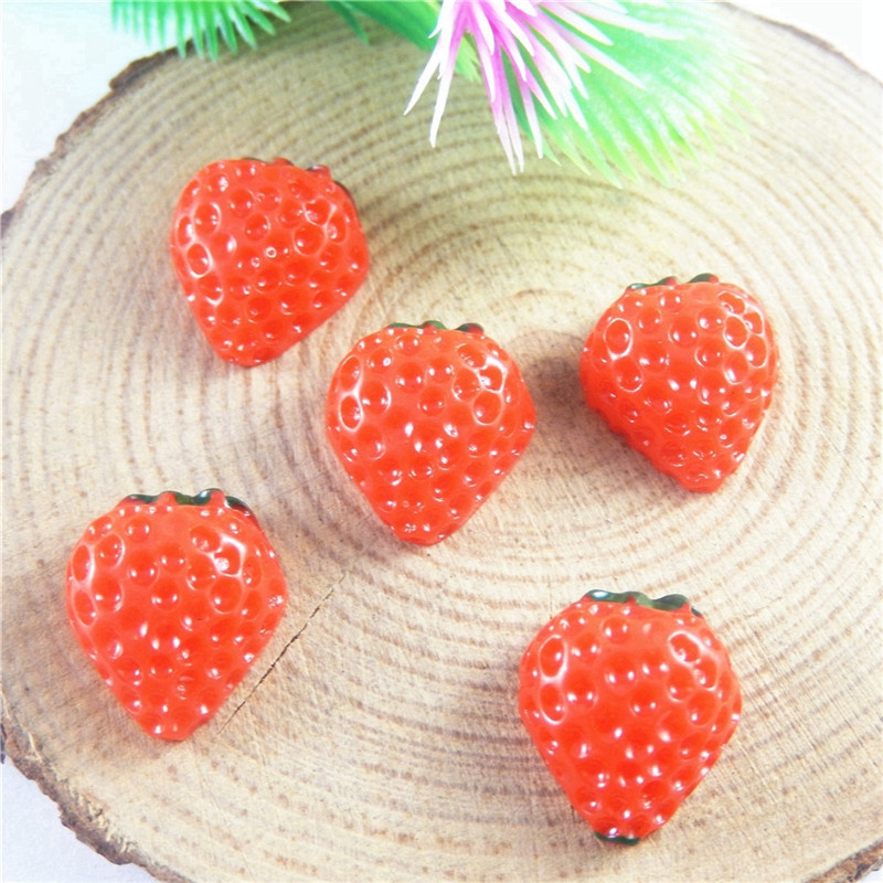 20pcs/pack Mini Red Strawberry Half Side Resin Jewelry Making Handmade Crafts Accessory Spacer Colorful Component Fashion
