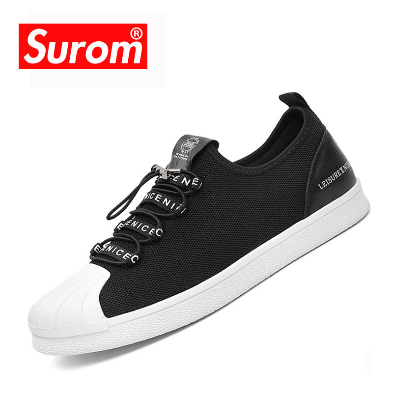 SUROM Men Casual Flat Skor Hot Sale Air Mesh Sommar Slip On Sneakers - Herrskor