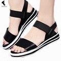 Ummer sandálias de salto plana sapato dedo aberto das mulheres plus size verão moda sandália confortável sapato de couro genuíno Ms. Roman elástico