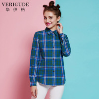 Veri Gude Women Long Sleeve Plaid Shirt Slim Fit Fashion Blouses