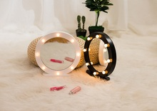 LED fairy lights Wooden circular Mirror Makeup Professional Vanity battery pendulum 8 Health Beauty girls gift
