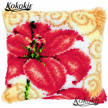 Bordir Yang Belum Selesai Sarung Bantal Kait Karpet Bunga Bantal Kit Cross Stitch Merajut Karpet Kit Bordir Menjahit Set(China)