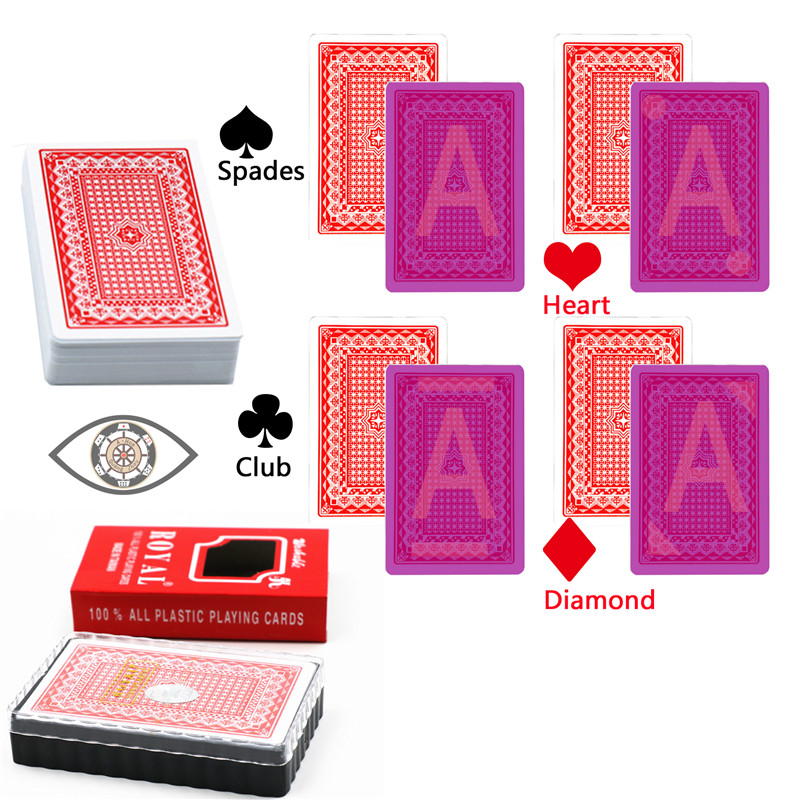 Royal bridge size plastic cards 88*58mm invisible deck for infrared contact lens casino <font><b>cheat</b></font> poker magic trick playing cards image