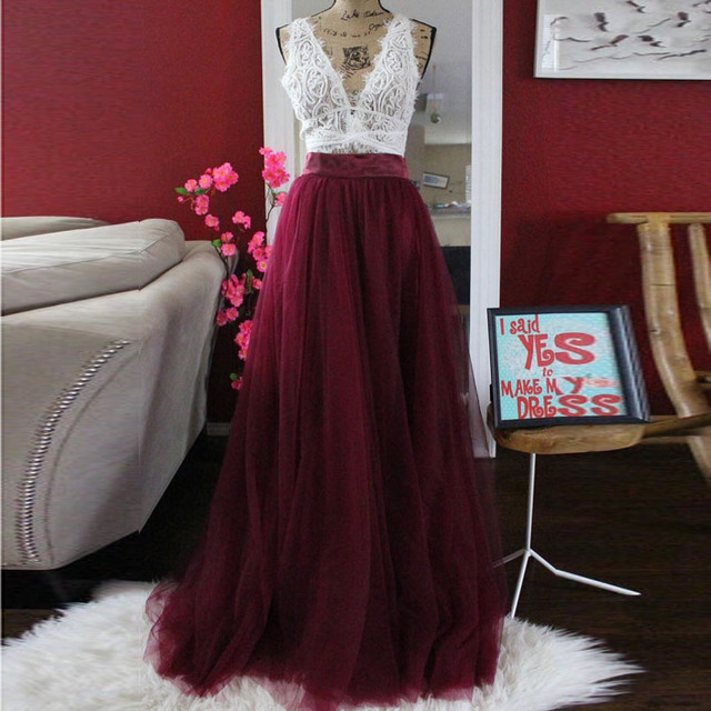 d8ea633314 Custom Made Long Burgundy Skirt Vintage 5 Layers Tulle Tutu Skirt High  Waist Invisible zipper Female Maxi Skirt Faldas saia