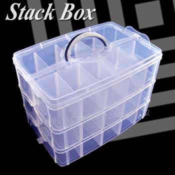 Big Stack Box Accessory Storage 3 layers adjustable slots removable dividers for DIY Nail Jewelry beads home Organizer container - DISCOUNT ITEM  32% OFF All Category
