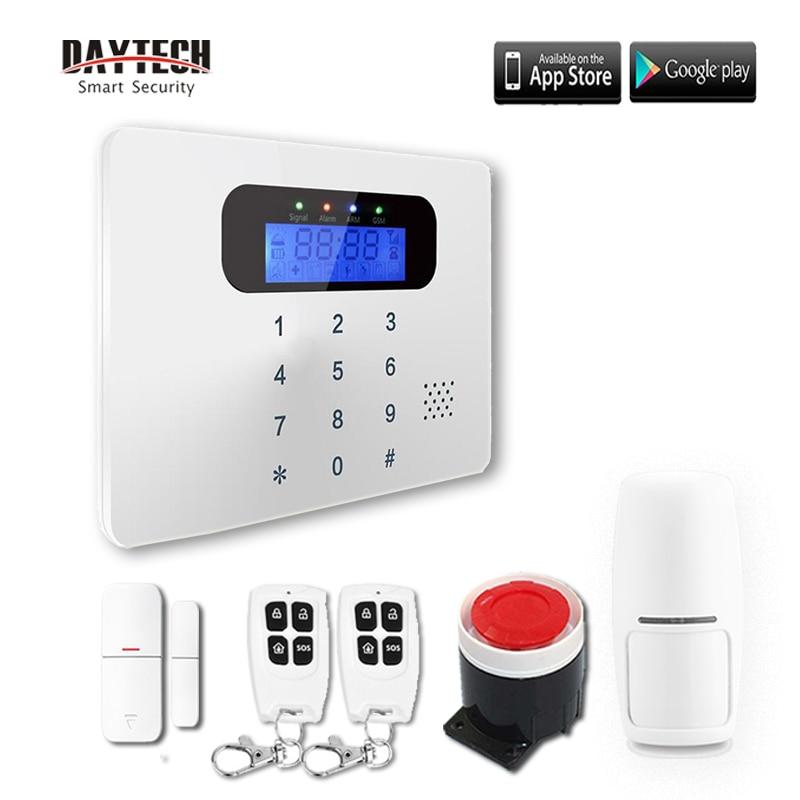 DAYTECH Système D'alarme Sans Fil GSM Kit Détecteur De Mouvement Capteur Cambrioleur Système D'alarme De Sécurité À Domicile Audio/Interphone Contrôle APP