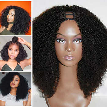 SimBeauty Middle Open 100% Human Hair Afro Kinky Curly U Part Wigs For Black Women 100% Unprocessed Peruvian Curl Wig Remy Hair - DISCOUNT ITEM  40% OFF All Category