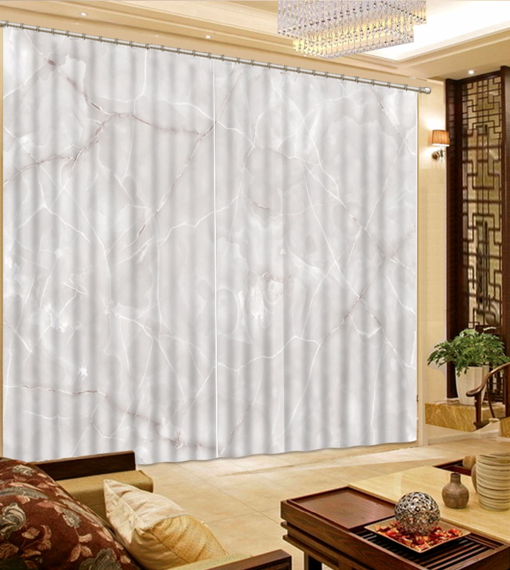 European Curtains For Living room Bedroom marble pattern Curtains ...
