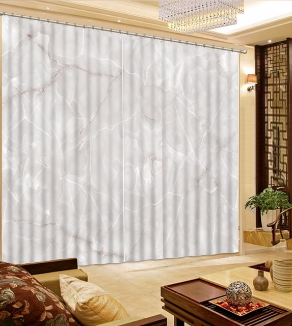 European Curtains For Living Room Bedroom Marble Pattern Curtains For  Window Decoration Blackout 3D Drapes White