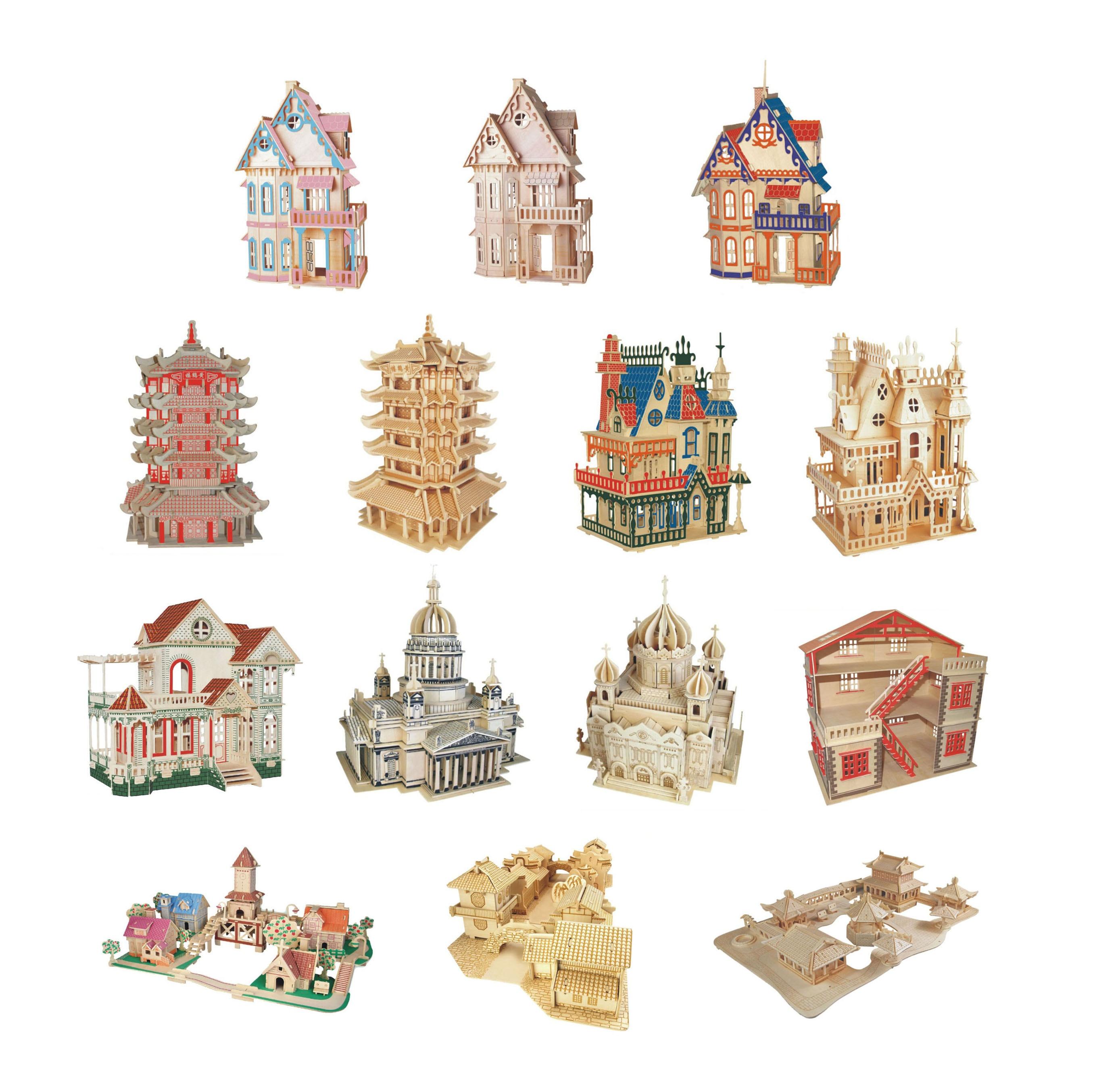 Chanycore Bébé D'apprentissage Éducatifs En Bois Jouets 3D Puzzle Bâtiment Église de Maison Villa Jardin Gothique Architecture Kid Cadeau 4314