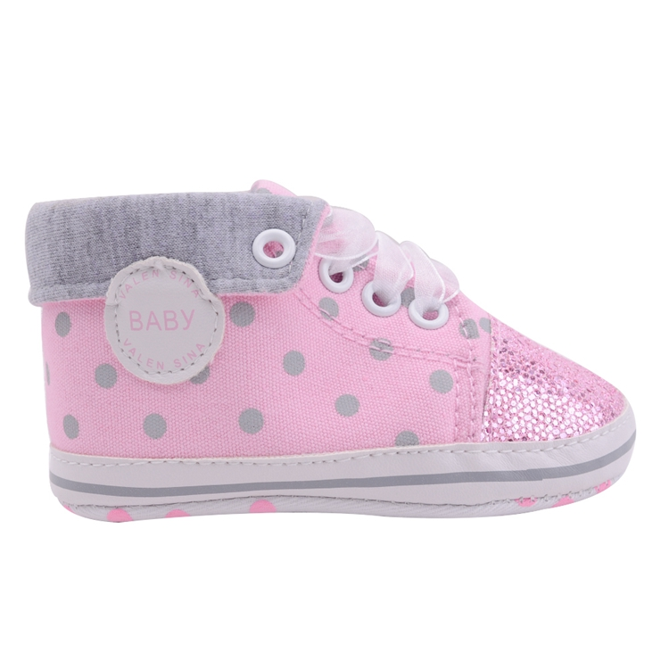 Infant Newborn Baby Girls Boy Glitter Polka Dots Autumn Lace-Up First Walkers Sneakers Shoes Adorable RibbonToddler Canvas Shoes 12