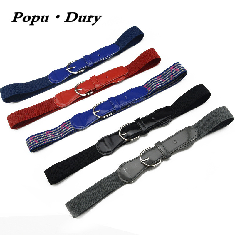 Popu`Dury 2017 New Arrival Unisex Children Belt Casual Solid Style Metal Pin Buckle Belt Children Elastic Belt 70cm-80cm Leagth