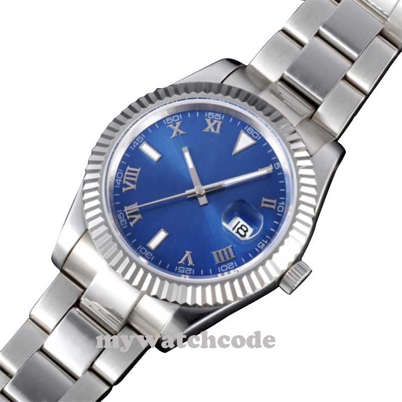 40mm parnis blue dial sapphire glass date automatic mens ss wrist watch 205