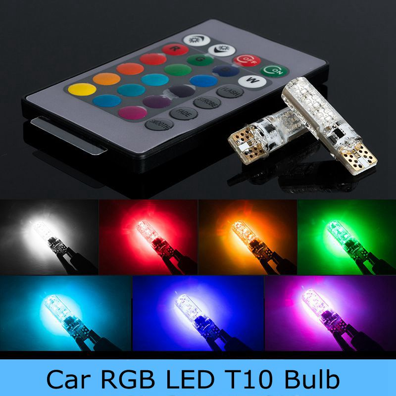 2шт автомобилей светодиодные RGB 12В СИД T10 5050 6SMD беспроводной пульт дистанционного RGB значение клином свет поворота тормоза Сид предупреждающий сигнал свет