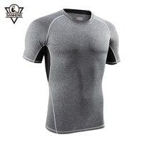 SanHeng Camisas Esporte Dry Fit Homens Correndo Camiseta Manga Curta Magro Estiramento Calças Justas Base Sob Execução Camisetas Tops T812