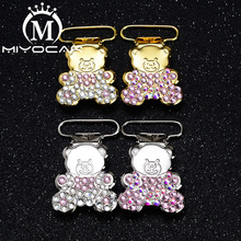 MIYOCAR 10pcs/lot special design bling bear shape gold aliver pacifier clip  holder good quality SP024