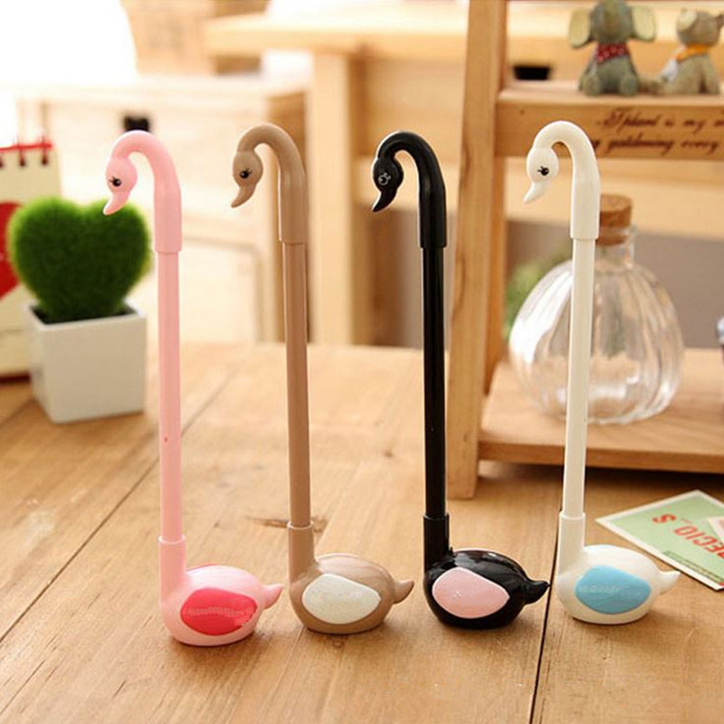 Coloffice 1PC Kawaii Swan Gel Pens Pencil Black Ink 0.38mm Cute Gel Pen Student Office Supplies Writing Signing Pens Signature