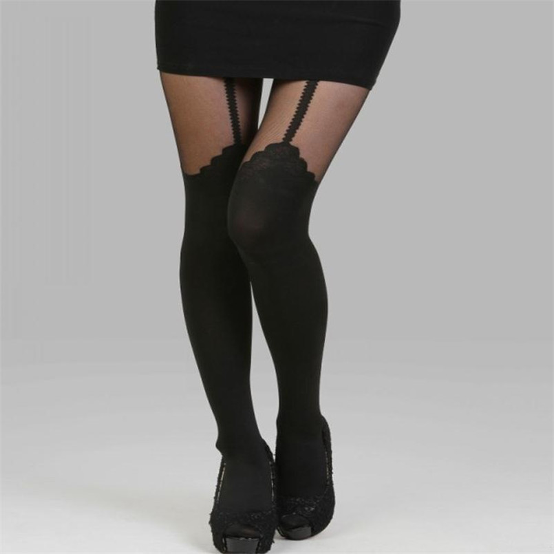 2016 New tights Lolita Lace Fake Garter belt black rose sexy Clothings patchwork stocking female pantyhose women ultrathin W019