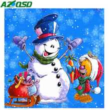 AZQSD 5d Diamond Painting Full Drill Square Christmas Decorations For Home Snowman Cartoon Cross Stitch
