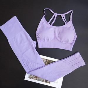 Image 2 - Energie Naadloze Leggings + Strappy Beha 2Pcs Yoga Set Vrouwen Gym Fitness Kleding Hoge Taille Yoga Leggings Set Running sportkleding