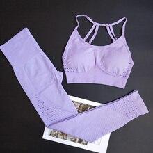 Energy Seamless Leggings+Strappy Bra 2Pcs Yoga Set Women Gym Fitness Clothing High Waist Yoga Leggings Set Running Sportswear