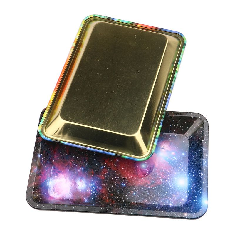 Starry Sky Tobacco Rolling Tray Storage Plate Discs For Smoke Bob Marley Herb Grinder Cigarette Container Tray in Tobacco Pipes Accessories from Home Garden