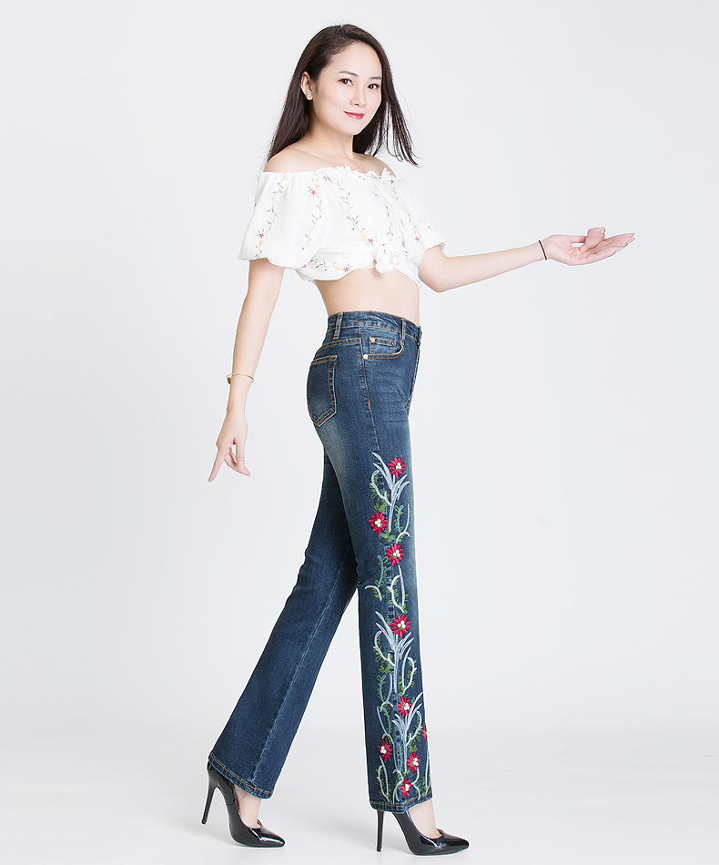 KSTUN FERZIGE Women Jeans High Waist Stretch Embroidered Flares Bell Bottoms Beads Pleated Denim Pants Jeans Long Trousers Mom Jeans 15