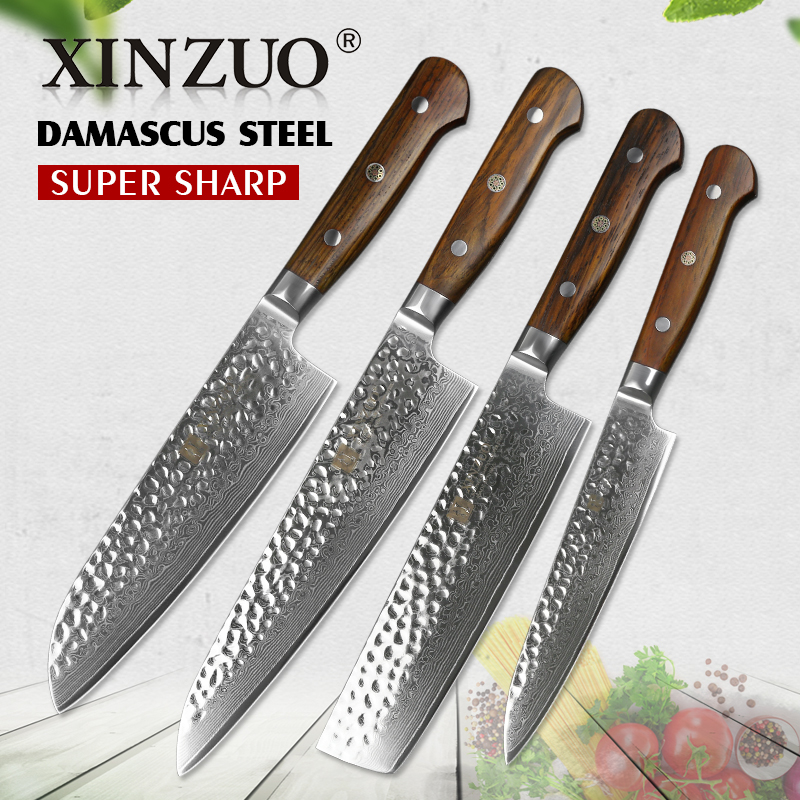 2018 XINZUO 4 pcs Cuisine Couteaux Ensembles Damas Super Forte En Acier Outil de Cuisine Couperet Chef Santoku Couteau Pakkawood Poignée