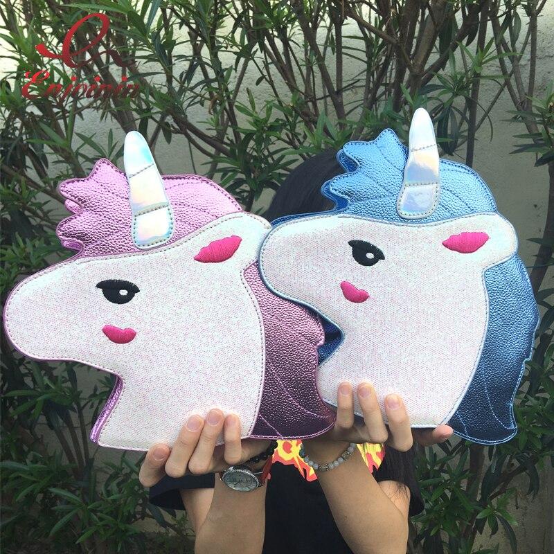 Personalidad tendencia de la moda de lentejuelas láser Unicornio forma del bolso