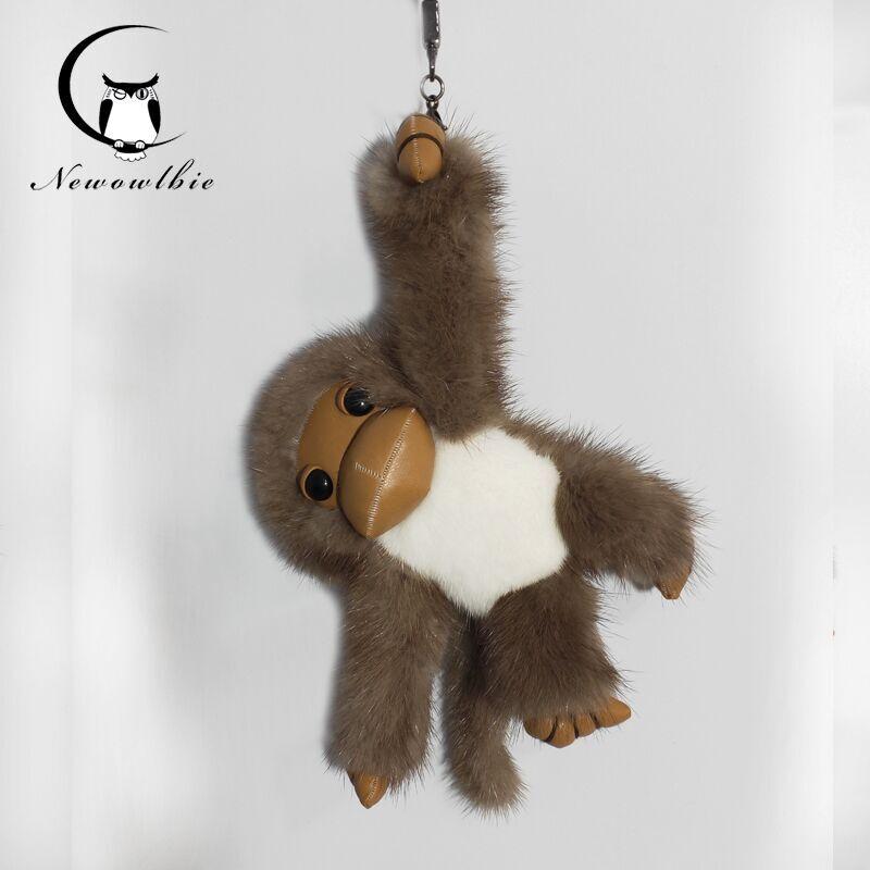 2019 nouveau style chaud long-armé singe réel vison fourrure singe enfants jouet voiture porte-clés sac pendentif accessoires de fourrure