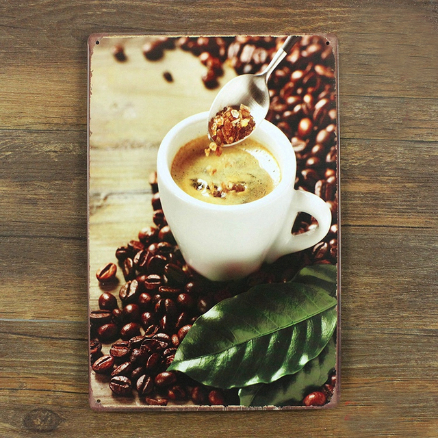 Metal painting vintage garage poster coffee beans wall for Plaque metal cuisine