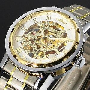 Image 3 - WINNER reloj mecánico de acero inoxidable con esqueleto para hombre, reloj de pulsera masculino, de cuerda a mano, transparente, Steampunk