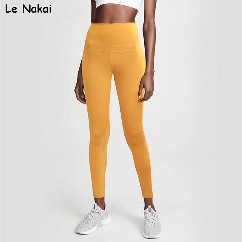 High Wasted Yellow Yoga Pants for Women Booty Scrunch Workout Gym Tights Energy Sports Fitness Power Flex legging Nylon Leggings 1