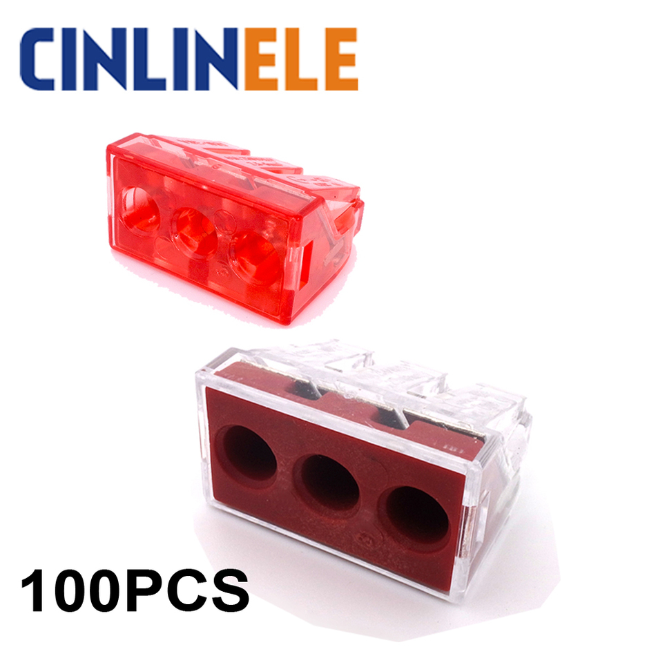 100PCS wago 773-173  Push wire wiring connector For Junction 3 pin conductor terminal block 20pcs box wago 773 104 push wire wiring connector for junction box 4 pin conductor terminal block